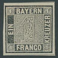 BAYERN 1Ia *, 1849, 1 Kr. Schwarzgrau, Platte 1, Breitrandig Mit 3 Schnittlinien, Farbfrisches Prachtstück, Mi. 1300.- - Bavaria