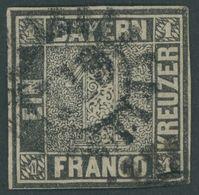 BAYERN 1IIa O, 1850, 1 Kr. Schwarz, Platte 2, Mühlradstempel 119, Unten Rechts Berührt, Sonst Allseits Schmalrandig, Fei - Bavaria
