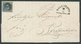 BAYERN 2Ia BRIEF, 1849, 3 Kr. Blau, Platte 1, Mit Allen Schnittlinien, Zentrischer MR-Stempel 272 (Poernbach), Kabinettb - Bavaria