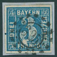 BAYERN 2IIA BrfStk, 1850, 3 Kr. Blau Ausgefüllte Ecken, Unterhalb Der Großen 3 Unbedrucktes Feld, Offener MR-Stempel 325 - Bavaria