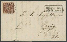 BAYERN 4II BRIEF, 1860, 6 Kr. Dunkelbraunorange, Type II, Platte 3, 4 Schnittlinien, Kabinettbrief Mit Kasten-Nebenstemp - Bavaria