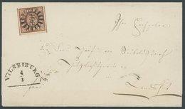 BAYERN 4II BRIEF, 1856, 6 Kr. Dunkelbraunorange, Type II, Mit MR-Stempel 361 (Vilsbiburg) Auf Briefhülle, Pracht, Gepr.  - Bavaria