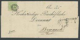 BAYERN 5a BRIEF, 1851, 9 Kr. Bläulichgrün, Alle Schnittlinien Vorhanden, Seidenfaden, MR-Stempel 18, Kabinettbrief Von A - Bavaria
