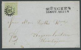 BAYERN 1852, 9 Kr. Mattblaugrün, Type II, Prachtbrief Von MÜNCHEN Nach Kaiserslautern, Gepr. Pfenninger Und Brettl - Bavaria