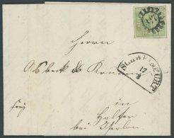BAYERN 5b BRIEF, 1855, 9 Kr. Blaugrün, Breitrandig Mit 3 Vollen Schnittlinien, MR-Stempel 317 (Schweinfurt), Prachtbrief - Bavaria
