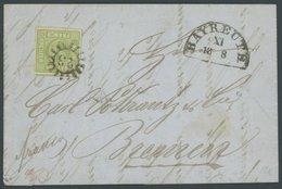 BAYERN 5c BRIEF, 1855, 9 Kr. Maigrün, Allseits Breitrandig Auf Kabinettbrief Von BAYREUTH Nach Bremen, Gepr. Brettl - Bavaria