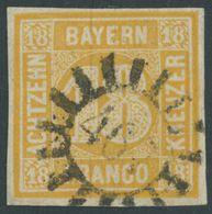 BAYERN 7 O, 1854, 18 Kr. Gelblichorange, Mühlrad-Stempel 467, Repariert Wie Pracht - Bavaria