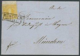 BAYERN 8I BRIEF, 1862, 1Kr. Orangegelb, Spitze Ecken, Mit Breitem Oberrand Auf Ortsbrief Aus MÜNCHEN, Pracht, Gepr. Schm - Bavaria