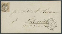 BAYERN 17 BRIEF, 1867, 9 Kr. Lebhaftockerbraun, Offener MR-Stempel 356 (Nürnberg BHF) Auf Brief Nach Schmölln, Kabinett, - Bavaria
