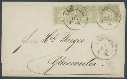 BAYERN 22Xa BRIEF, 1874, 1 Kr. Hellgrün, Wz. Enge Rauten, Im Senkrechten Dreierstreifen Auf Brief Mit K1 LANDAU I.D.P. N - Bavaria