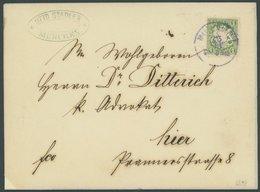 BAYERN 22Xb BRIEF, 1870, 1 Kr. Dunkelgrün, Wz. Enge Rauten, Mit Bläulichem K1 MÜNCHEN Auf Ortsbrief, Pracht, Gepr. Brett - Bavaria