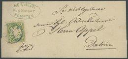 BAYERN 22Yb BRIEF, 1870, 1 Kr. Dunkelgrün Nuance, Wz. Weite Rauten, Auf Kleinem Ortsbrief Mit Violettem Kleinen K1 KEMPT - Bavaria