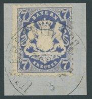 BAYERN 25Yc BrfStk, 1870, 7 Kr. Dunkelblau, Wz. Weite Rauten, Prachtbriefstück, Gepr. Pfenninger, Mi. (220.-) - Bavaria