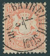 BAYERN 27Yb O, 1870. 18 Kr. Dunkelziegelrot, Wz. Weite Rauten, K1 BAYREUTH STADT, Kabinett, Gepr. Brettl - Bavaria