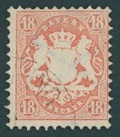 BAYERN 27Yb O, 1870. 18 Kr. Dunkelziegelrot, Wz. Weite Rauten, Pracht, Gepr. Bühler, Mi. 90.- - Bavaria