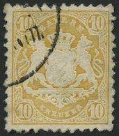 BAYERN 29Yb O, 1873, 10 Kr. Dunkelgelb, Wz. Weite Rauten, Pracht, Gepr. Stegmüller, Mi. 80.- - Bavaria