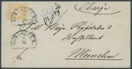 BAYERN 29Yb BRIEF, 1873, 10 Kr. Dunkelgelb, Wz. Weite Rauten, Auf CHargé-Brief Von SONTHOFEN Nach München, Kabinett, Gep - Bavaria
