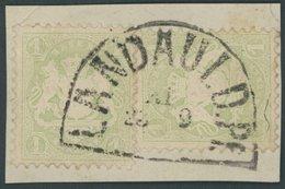 BAYERN 32c BrfStk, 1875, 1 Kr. Mattgrün, Wz. 2, 2x Auf Briefstück, Segmentstempel LANDAU I D.PF., Pracht, Gepr. Brettl - Bavaria