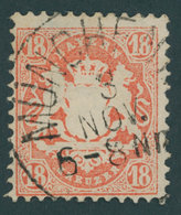 BAYERN 36 O, 1875, 18 Kr. Dunkelzinnoberrot, Wz. 2, Kabinett, Gepr. Brettl, Mi. (75.-) - Bavaria