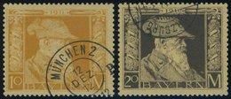 BAYERN 90/1I O, 1911, 10 Und 20 M. Luitpold, Type I, 2 Prachtwerte, Mi 125.- - Bavaria