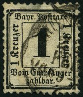 BAYERN P 2X O, 1870, 1 Kr. Schwarz, Wz. Enge Rauten, Kleine Mängel, Feinst, Gepr. Brettl, Mi. 1000.- - Bavaria