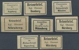BAYERN (*),** , Retourmarken: 8 Verschiedene Verschlussmarken, Pracht - Bavaria