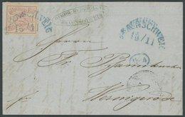 BRAUNSCHWEIG 1 BRIEF, 1852, 1 Sgr. Karmin, Allseits Breitrandig, Kabinettbrief Von Braunschweig Nach Werningerode, Fotoa - Brunswick