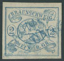 BRAUNSCHWEIG 2 O, 1852, 2 Sgr. Lebhaftpreußischblau, Blaue Halbkreisstempel, Pracht, Mi. 350.- - Brunswick