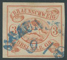 BRAUNSCHWEIG 3 O, 1852, 3 Sgr. Orangerot, Blauer Halbkreisstempel, Pracht, Signiert, Mi. 350.- - Brunswick