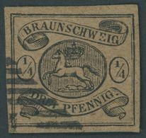BRAUNSCHWEIG 4 O, 1856, 1/4 Gr. Schwarz Auf Hellbraun, Pracht, Mi. 320.- - Brunswick