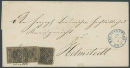 BRAUNSCHWEIG 4 Paar BRIEF, 1856, 1/4 Gr. Schwarz Auf Hellbraun Im Senkrechten Paar Und Einzelmarke Auf Briefhülle Mit Nu - Brunswick