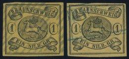 BRAUNSCHWEIG 6a,b O, 1853, 1 Sgr. Schwarz Auf Sämisch Und Braungelb, 2 Prachtwerte - Brunswick