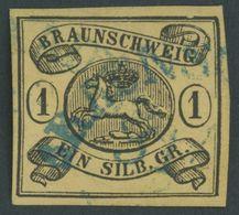 BRAUNSCHWEIG 6aY O, 1853, 1 Sgr. Schwarz Auf Sämisch, Wz. Mundstück Nach Links, Blauer Halbkreisstempel, Kabinett, Mi. 1 - Brunswick