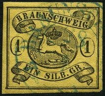 BRAUNSCHWEIG 6aY O, 1853, 1 Sgr. Schwarz Auf Sämisch, Verkehrtes Wz., Pracht, Mi. 120.- - Brunswick