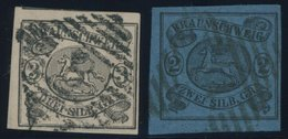 BRAUNSCHWEIG 7a,8a O, 1853, 2 Sgr. Schwarz Auf Blau Und 3 Sgr. Schwarz Auf Mattrosa, 2 Prachtwerte, Mi. 190.- - Brunswick