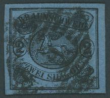 BRAUNSCHWEIG 7b O, 1853, 2 Sgr. Schwarz Auf Hellblau, Pracht, Mi. 220.- - Brunswick
