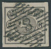 BRAUNSCHWEIG 8a O, 1853, 3 Sgr. Schwarz Auf Mattrosa, Nummernstempel 8, Allseits Riesenrandig, Kabinett - Brunswick
