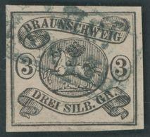 BRAUNSCHWEIG 8a O, 1853, 3 Sgr. Schwarz Auf Mattrosa, R2 HELMSTEDT, Kleine Mängel, Feinst - Brunswick