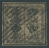 BRAUNSCHWEIG 9a O, 1857, 4/4 Ggr. Schwarz Auf Graubraun, Nummernstempel 37 (SCHOENINGEN), Pracht, Mi. 120.- - Brunswick