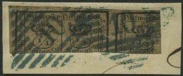 BRAUNSCHWEIG 9a BrfStk, 1857, 3/4 Gr. Schwarz Auf Graubraun, Blauer Nummernstempel 10 (CALVÖRDE), Prachtbriefstück, Sign - Brunswick