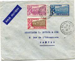 REUNION LETTRE PAR AVION DEPART SAINT-DENIS 11-8-37 REUNION POUR LA FRANCE - Réunion (1852-1975)