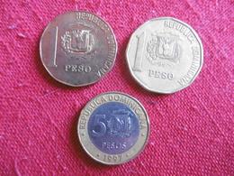 (A8 1)-REPUBLIQUE DOMINICAINE-LOT DE 3 PIECES-1 ET 5 PESOS - Dominicaine