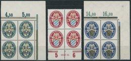 Dt. Reich 375-77 VB **, 1925, Nothilfe In Randviererblocks, Mi.Nr. 376 Mit HAN, Postfrisch, Pracht - Germany