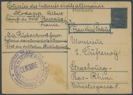 FRANKREICH FELDPOST Camp De Fordt Barraux (1940-44 Judenlager): 5 Pf. Hitler Ganzsachenkarte, Geschwärzt, Als Meldekarte - Postmark Collection (Covers)