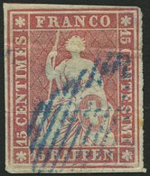 SCHWEIZ BUNDESPOST 15Ib O, 1854, 15 Rp. Hellilakarmin, 2. Münchner Druck, (Zst. 24Ad), Blaue Raute, Waagerechter Bug Son - 1843-1852 Federal & Cantonal Stamps