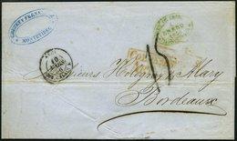 URUGUAY 1856, MONTEVIDEO, Grüner Ovalstempel Und Diverse Nebenstempel Auf Brief Nach Bordeaux, Feinst - Uruguay