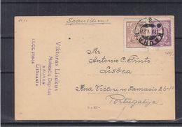 Lituanie - Carte Postale De 1927 - Oblit Kaunas - Exp Vers Lisboa - Reproduction Des Monnaies De Lituanie - Lithuania
