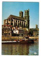 78 Mantes La Jolie N°5 La Collégiale La Tour St Maclou En 1980 VOIR ZOOM Belle Péniche Beau Plan - Mantes La Jolie