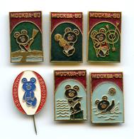 Original Russian Badges & Pin Moscow Olympics 1980 Lot Of 6 Mascot Misha Sports - Giochi Olimpici
