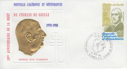 Enveloppe  FDC  1er  Jour    NOUVELLE  CALEDONIE    GENERAL  DE   GAULLE     1980 - De Gaulle (Général)